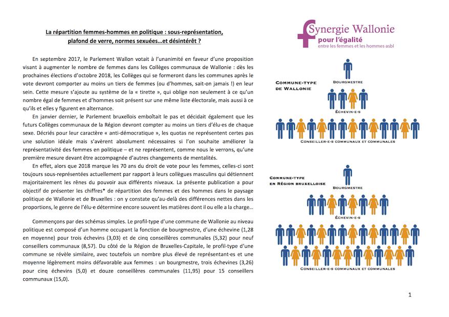 La répartition femmes-hommes en politique: sous-représentation, plafond de verre, normes sexuées…et désintérêt?