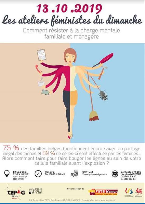 Les ateliers féministes du dimanche : « Comment résister à la charge mentale familiale et ménagère ? » 24.11.2019