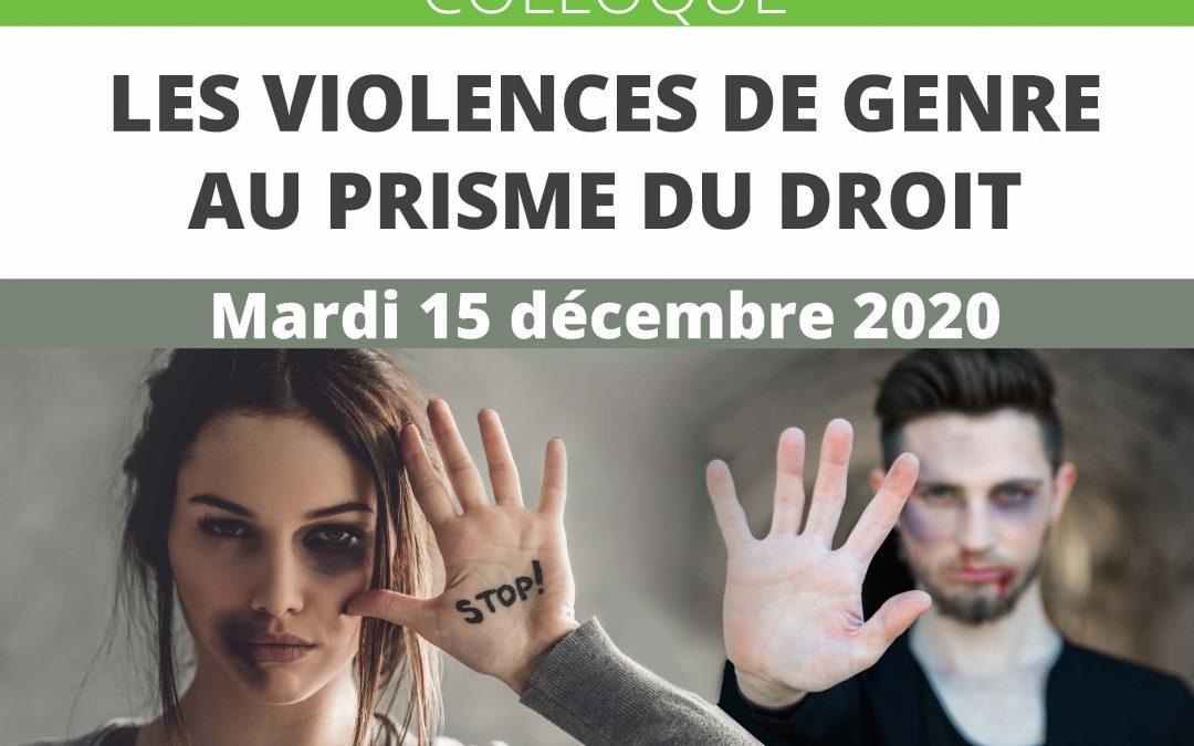 15 décembre 2020: Colloque «les violences de genre au prisme du droit»
